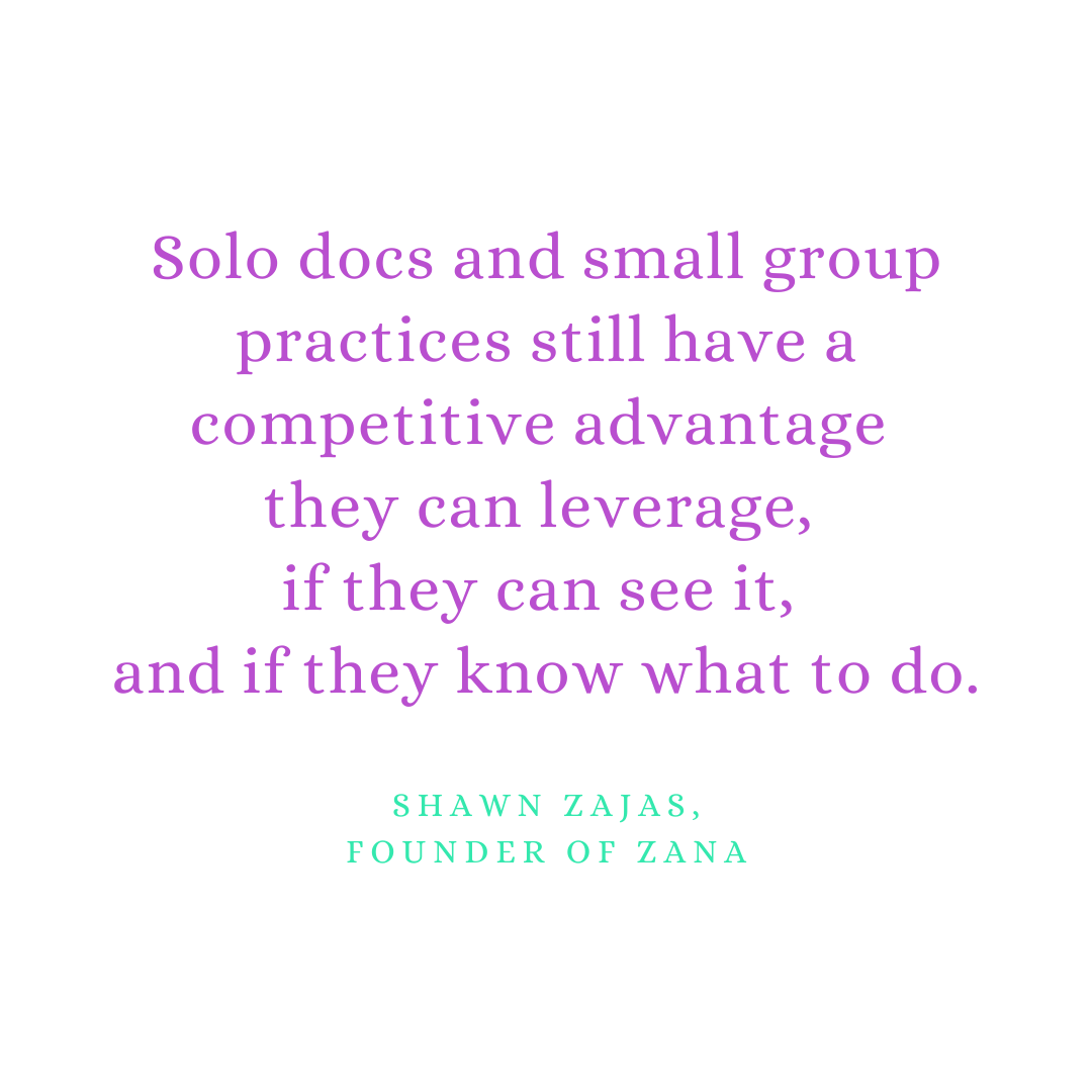 Inspirational Quote for Dentists by Shawn Zajas, Founder of Zana, with purple text and white background that says solo docs and small group practices still have a competitive advantage they can leverage, if they can see it, and if they know what to do