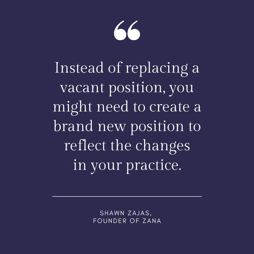 Inspirational Quote for Dentists by Shawn Zajas, Founder of Zanam with white text and blue background that says instead of replacing a vacant position, you might need to create a brand new position to reflect the changes in your practice