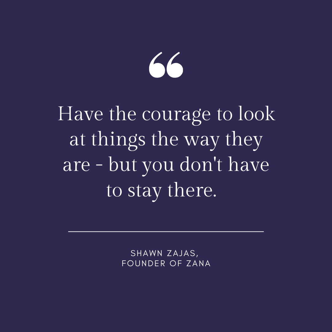 Inspirational Quote for Dentists by Shawn Zajas with White text and Blue background saying Have the courage to look at things the way they are - but you don't have to stay there.