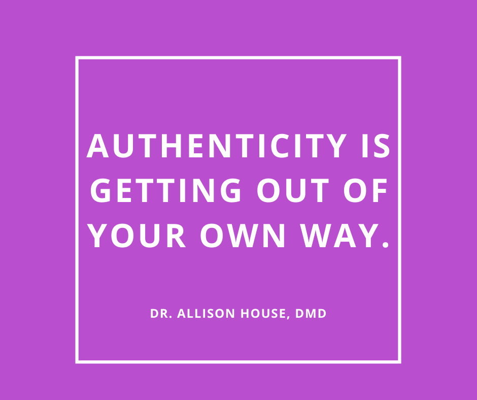 Inspirational Quote for Dentists by Dr. Allison House, DMD, with white text and Purple background